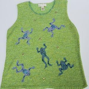 Susan Bristol tank frog sweater L